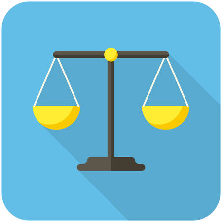 balanza en equilibrio: Icono del balance (diseño plano con largas sombras) Vectores