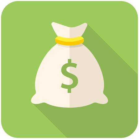 Geld zak icoon (platte ontwerp met lange schaduwen)
