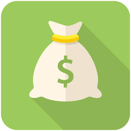 Money bag icon (flat design with long shadows) Banco de Imagens - 33306782