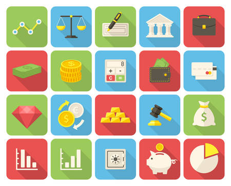 bussines: Finance icons set (flat design with long shadows) Illustration