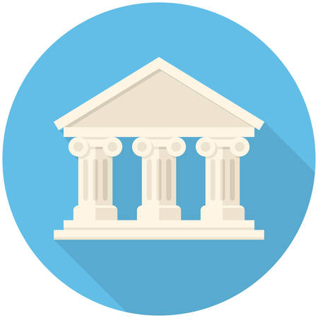 university building: Bank icon (flat design with long shadows)