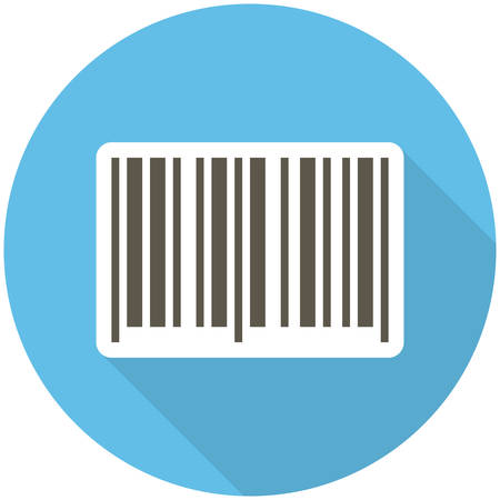 barcode: Barcode icon (flat design with long shadows)