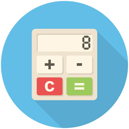 accounting design: Calculator icon (flat design with long shadows)
