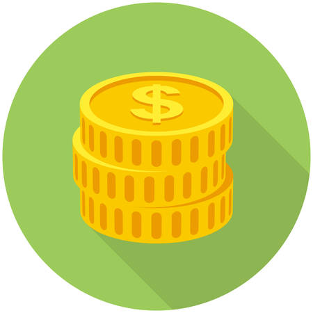 coin stack: Coins icon  (flat design with long shadows)