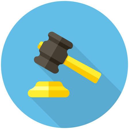 auction gavel: Gavel  icon (flat design with long shadows) Illustration