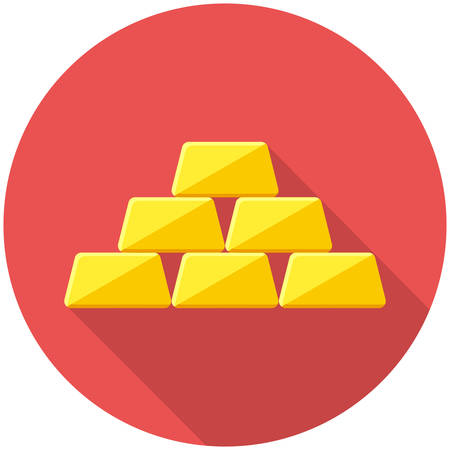 ingots: Golden icon icon(flat design with long shadows)