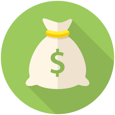 bag icon: Money bag icon (flat design with long shadows)