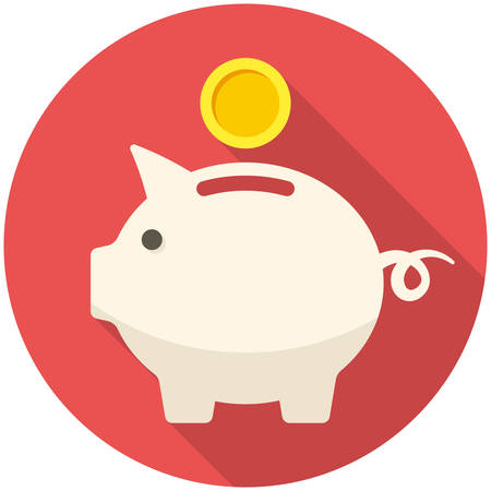 Piggy bank icon (flat design with long shadows)