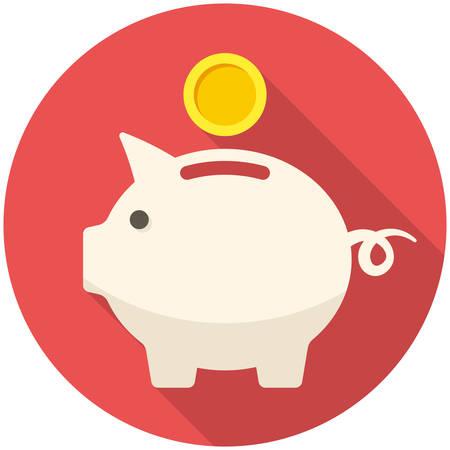 Piggy Bank ikona (płaska konstrukcja z długimi cieniami)