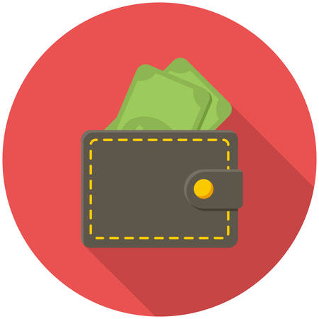 wallet: Wallet icon (flat design with long shadows)