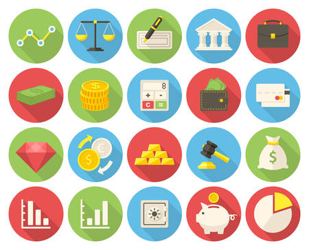 long: Finance icons set (flat design with long shadows) Illustration