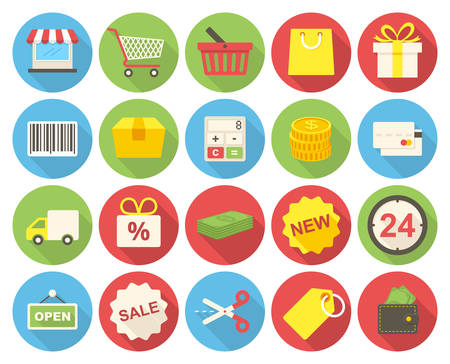 Shopping icons set (flat design with long shadows) Vector