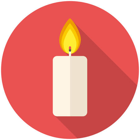 white candle: Christmas candle icon (flat design with long shadows) Illustration