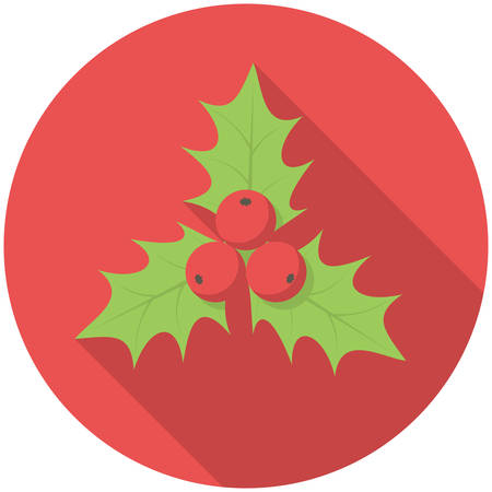 holly leaves: Christmas holly icon (flat design with long shadows)
