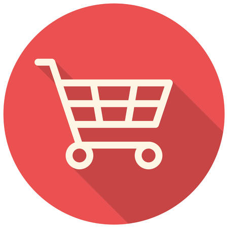 cart icon: Shopping cart icon (flat design with long shadows)