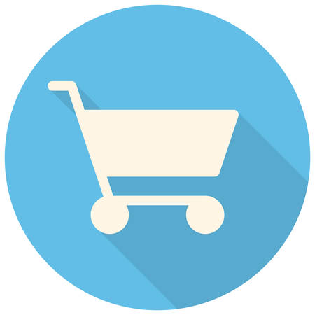 shopping cart button: Shopping cart icon (flat design with long shadows)