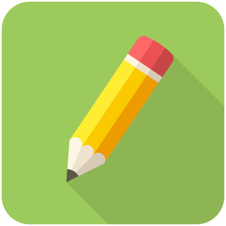 pencil symbol: Compose icon (flat design with long shadows)