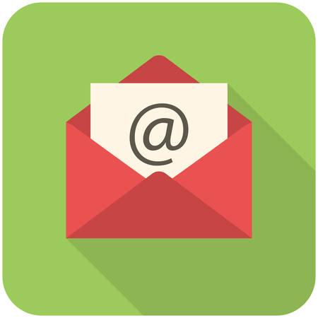 이메일 아이콘 (긴 그림자와 평면 디자인) 일러스트