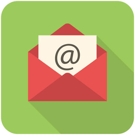 papier lettre: Email icon (design plat avec de longues ombres)