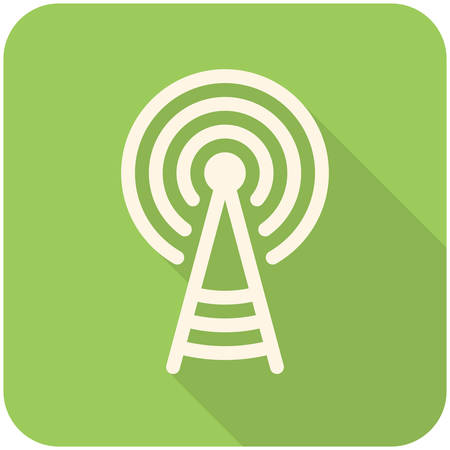 Transmitter tower icon (flat design with long shadows) Vettoriali