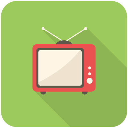 TV icon (flat design with long shadows) Vector