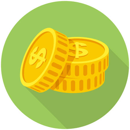 Coins icon  (flat design with long shadows) Vector