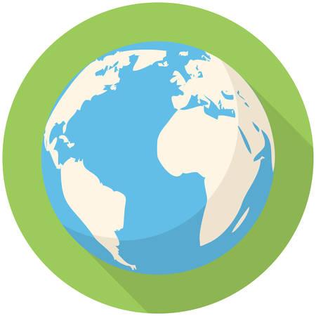 Globe icon (flat design with long shadows) Illustration
