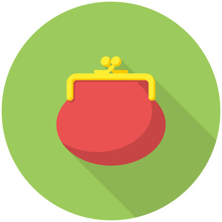purses: Purse icon (flat design with long shadows) Illustration