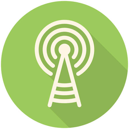 satellite transmitter: Transmitter tower icon (flat design with long shadows) Illustration