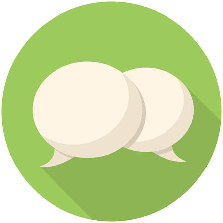 chat balloon: Bubbles icon (flat design with long shadows)