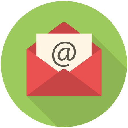 Email icon (flat design with long shadows) 일러스트
