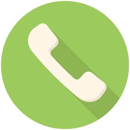 Telephone handsets icon (flat design with long shadows)