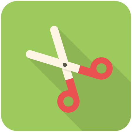 pair of scissors: Pair of scissors, modern flat icon with long shadow Illustration
