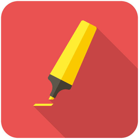 pen and marker: Marker pen, modern flat icon with long shadow