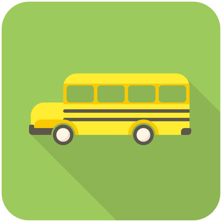schoolbus: School Bus, modern flat icon with long shadow