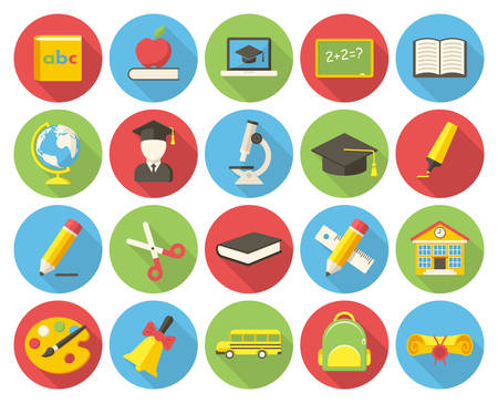 Education, modern flat icon with long shadow Vector