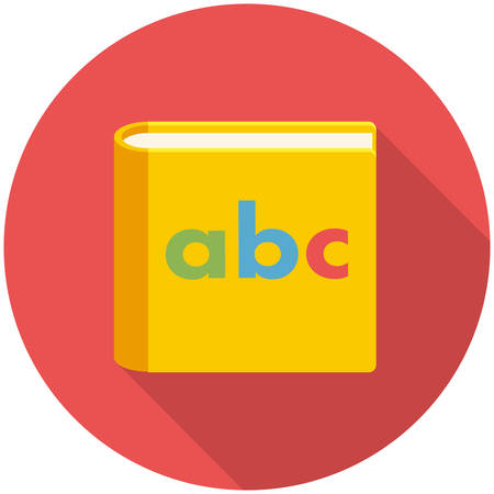 childrens book: Alphabet book, modern flat icon with long shadow Illustration