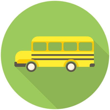 bus: School Bus, modern flat icon with long shadow