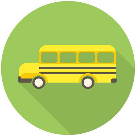cartoon bus: School Bus, modern flat icon with long shadow