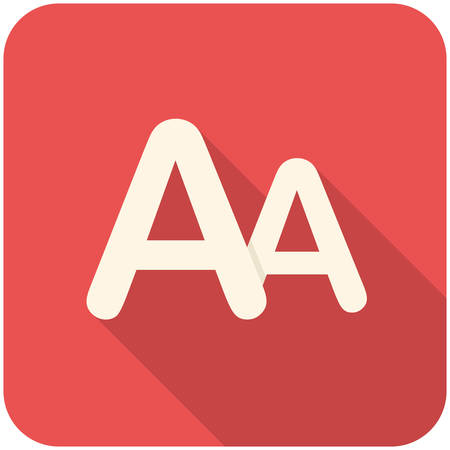 large size: Font size, modern flat icon with long shadow Illustration