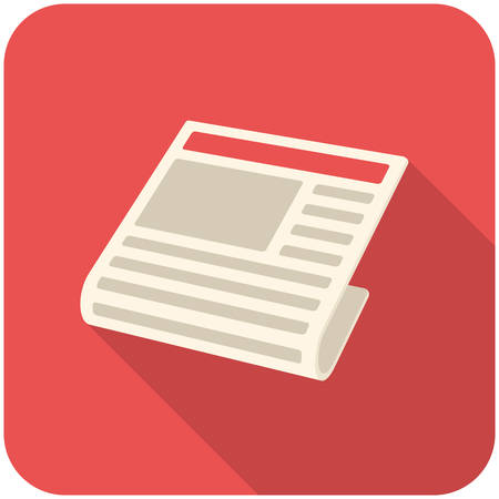 News, modern flat icon with long shadow Illustration