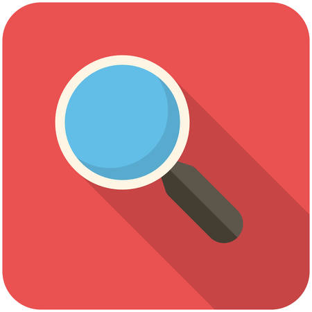 blue glass: Search, modern flat icon with long shadow