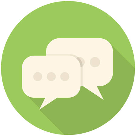 chat button: Forum, modern flat icon with long shadow Illustration
