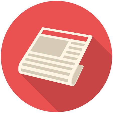 news papers: News, modern flat icon with long shadow Illustration