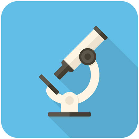 Microscope, modern flat icon with long shadow Illustration
