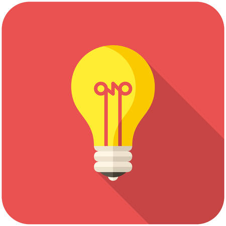 Light Bulb, modern flat icon with long shadow Vector