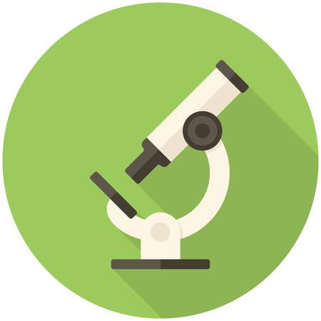 Microscoop, moderne platte icoon met lange schaduw Stock Illustratie
