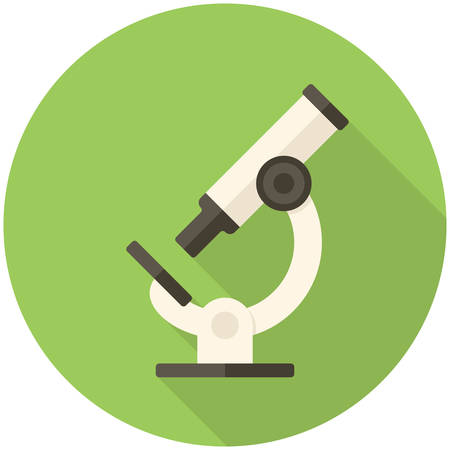 microscope: Microscopio, icono plana moderna con una larga sombra