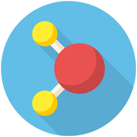 Molecule, modern flat icon with long shadow Vector