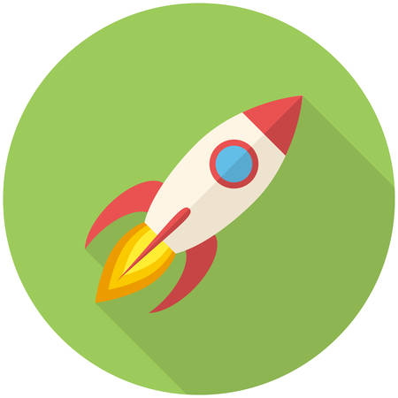 Rocket, modern flat icon with long shadow Vector